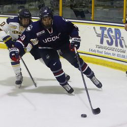The UConn Huskies take on the Merrimack Warriors in a men's college hockey game at J. Thom Lawler Rink in North Andover, MA on January 12, 2018.