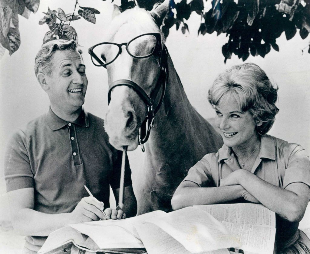 """The cast of """"Mister Ed"""" — Alan Young, Mister Ed and Connie Hines.   FILE PHOTO"""