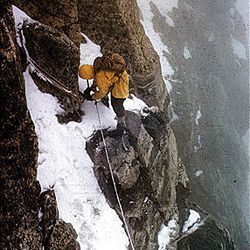 Rick Reese rappels on Mount Owen, Grand Teton National Park in 1965.