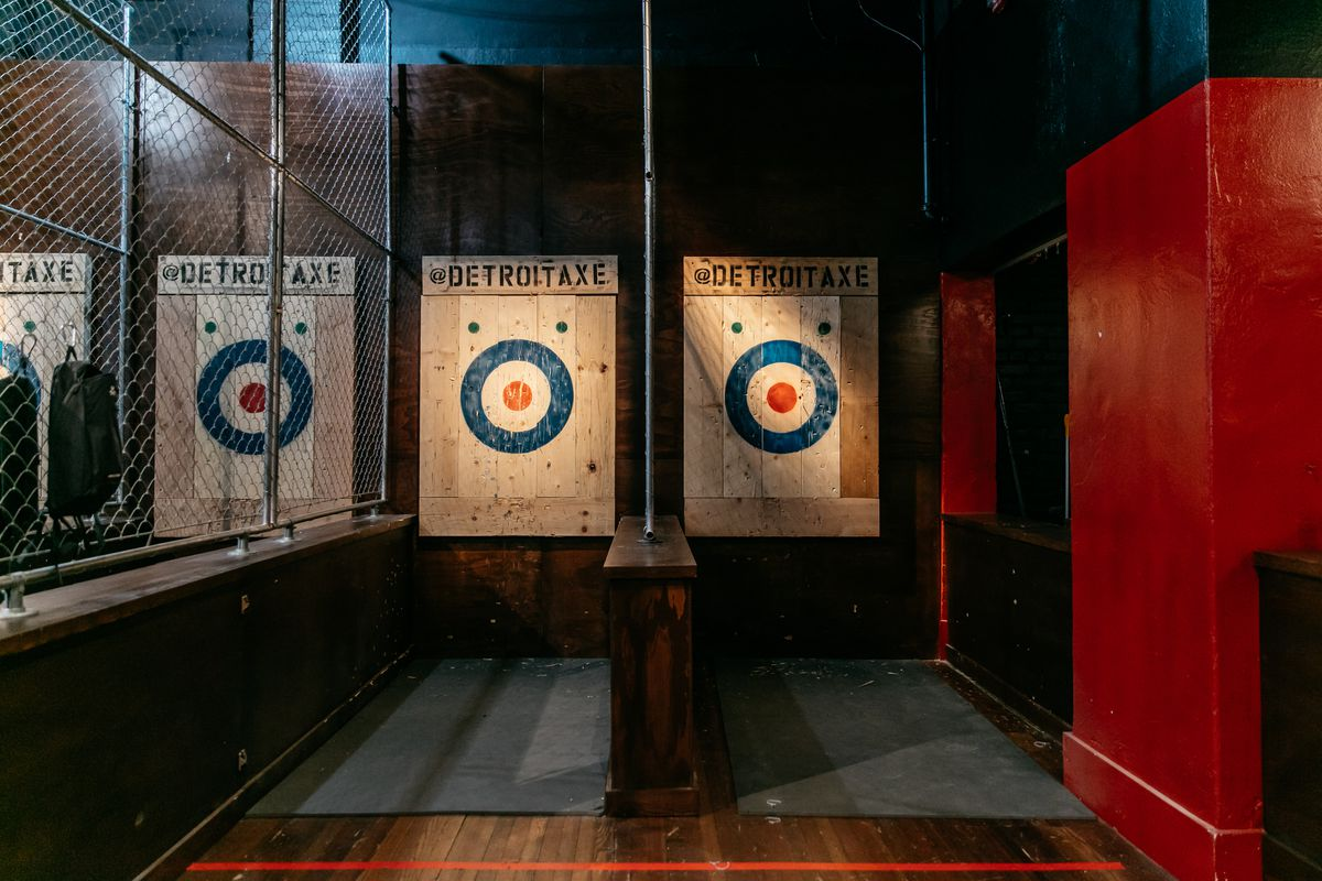 Detroit Axe targets in lanes at the Ferndale location.