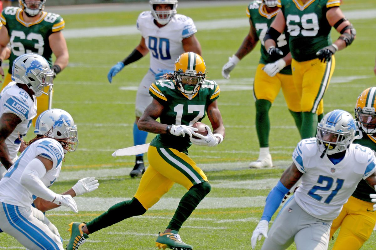 Packers wide receiver Davante Adams (17) runs after a catch during the 2nd quarter of the Green Bay Packers game against the Detroit Lions at Lambeau Field in Green Bay on Sunday, Sept. 20, 2020.