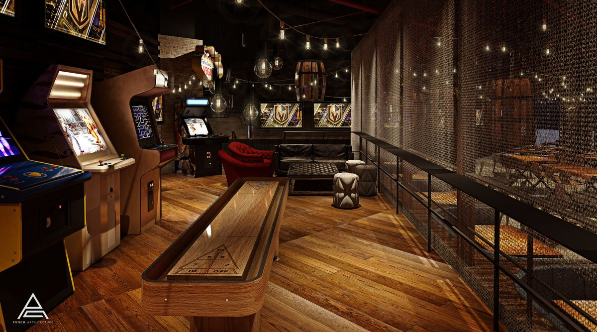 A rustic arcade room