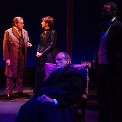 """David Spencer (Adam Badeau), from left, Kathryn Atwood (Julia Dent Grant), Marshall Bell (Ulysses S. Grant) and Brien K. Jones (Harrison Terrell) in Salt Lake Acting Company's world premiere production of Grant & Twain."""""""