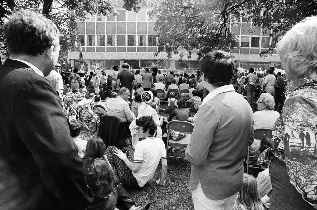 People gathered at Bughouse Square in 1975.