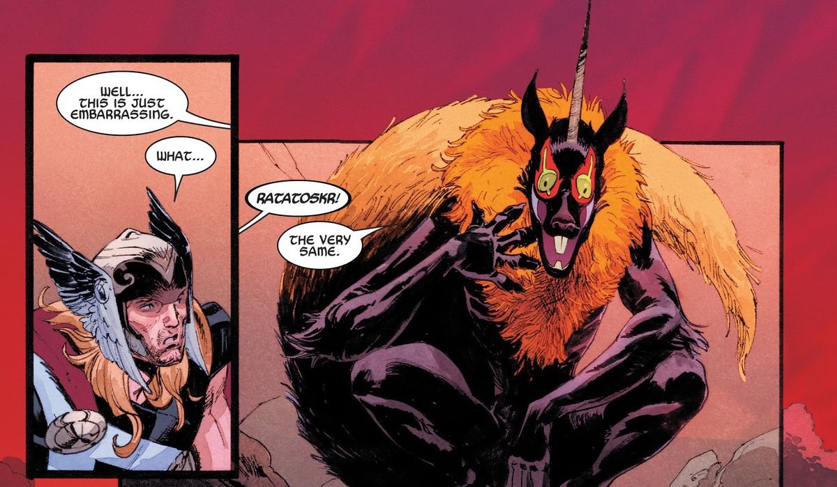 Thor runs into Ratatoskr, the squirrel god of mischief, with their black fur, orange ruff and tail, red and yellow staring eyes, and a spiraling unicorn horn, in Thor #11, Marvel Comics (2020).