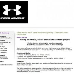 Under Armour offers employment.