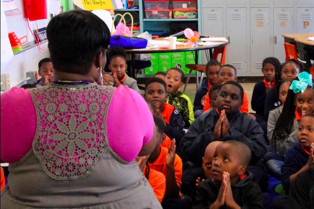 Students at Westwood Elementary learn a chant from their teacher in September 2018.