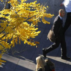 Conference goers make their way into the Conference Center for the Saturday morning session of the 183rd Semiannual General Conference for the Church of Jesus Christ of Latter-day Saints Saturday, Oct. 5, 2013 in Salt Lake City.