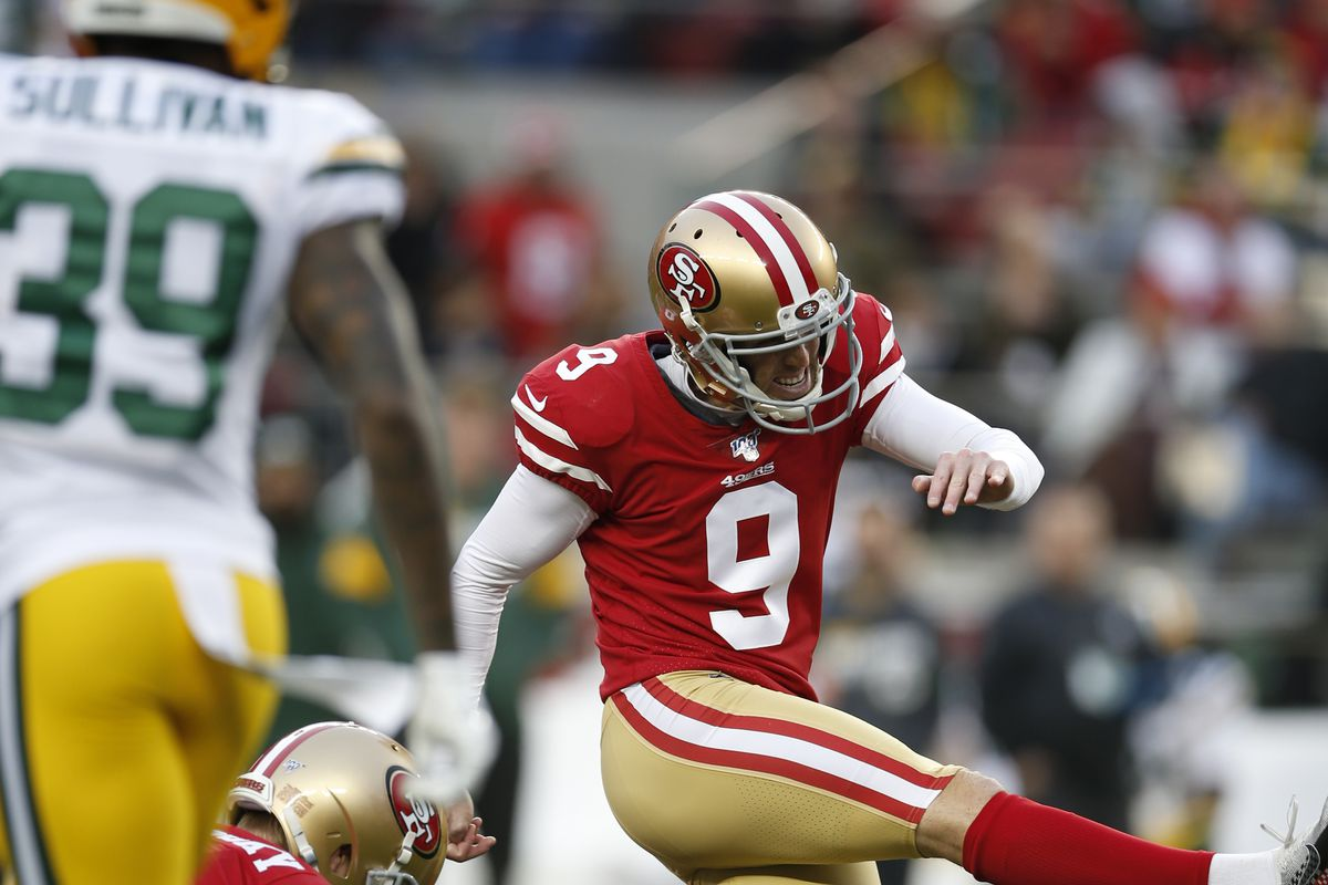 Robbie Gould of the San Francisco 49ers kicks a 54-yard field goal during the game against the Green Bay Packers at Levi's Stadium on January 19, 2020 in Santa Clara, California.