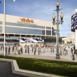 Artist rendering of changes planned for the exterior of Vivint Smart Home Arena.