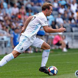 June 29, 2019 - Saint Paul, Minnesota, United States - Minnesota United defender Chase Gasper (77) dribbles the ball during the Minnesota United vs FC Cincinnati match at Allianz Field.