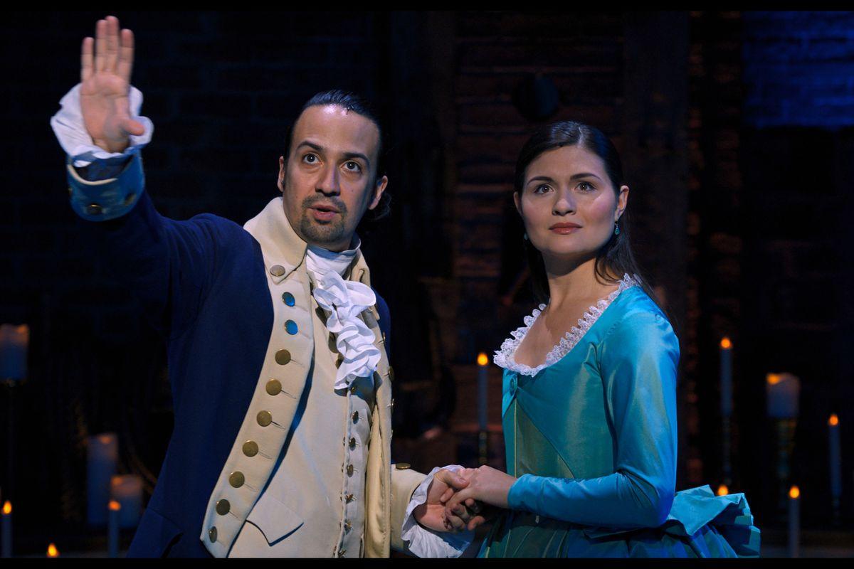 Lin-Manuel Miranda as Hamilton and Phillipa Soo as Eliza in Hamilton