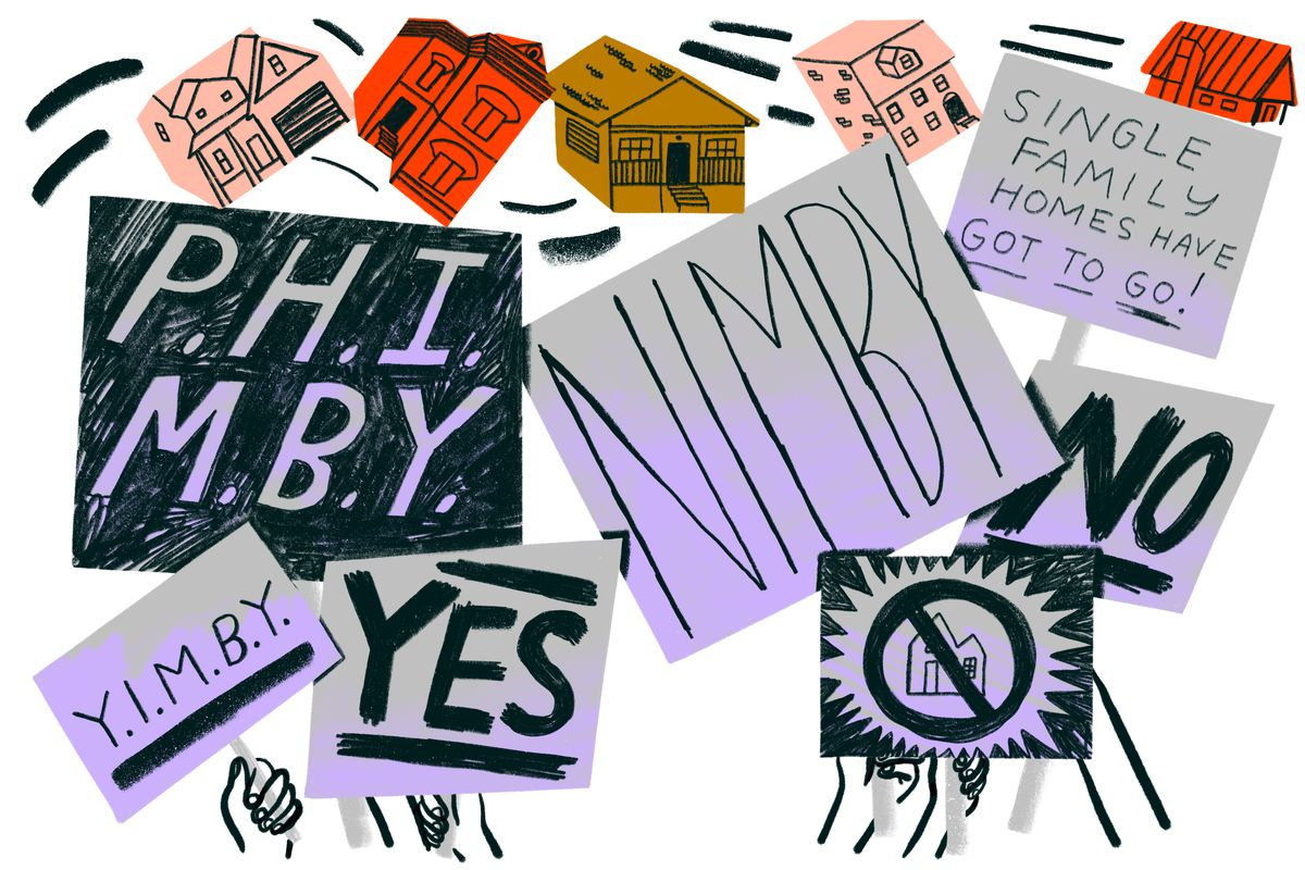Hands hold competing protesting signs. Some in support of YIMBYism and others against development. Illustration.