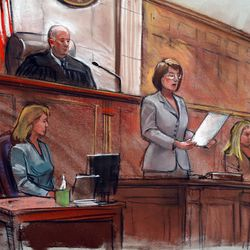 Courtroom sketch depicts a U.S. District Court clerk in Salt Lake City announcing the verdict in the Brian David Mitchell trial Friday. The seven-man, five-woman jury determined that Mitchell is not mentally ill and should be punished for his crimes.