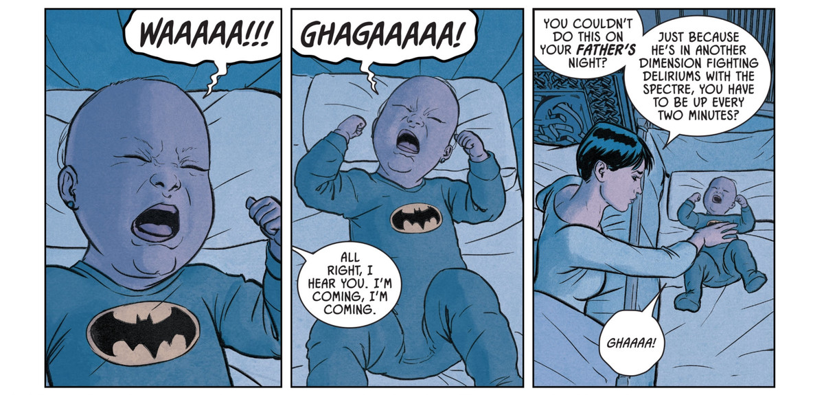 """A baby in a Batman onesie cries, and Catwoman gets up to tend to it. """"You couldn't do this on your father's night?"""" she mutters, """"Just because he's in another dimension fighting deliriums with the spectre, you have to be up every two minutes?"""" in Catwoman 80th Anniversary 100-Page Super Spectacular, DC Comics (2020)."""