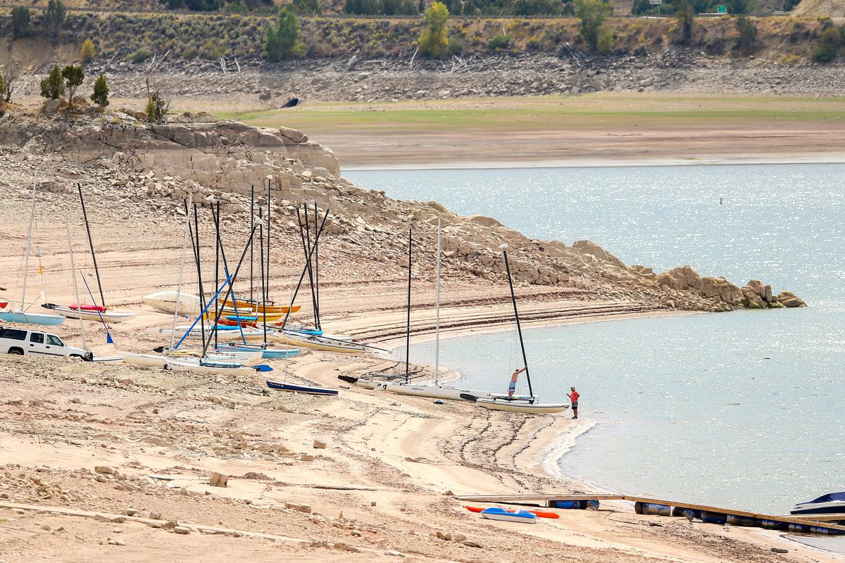 Low water levels expose a large beach area as boats sit on the sand at Rockport reservoir on Monday, Sept. 10, 2018.