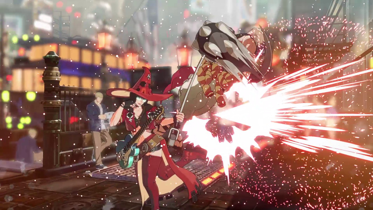 A character fires an explosive attack in Guilty Gear Strive