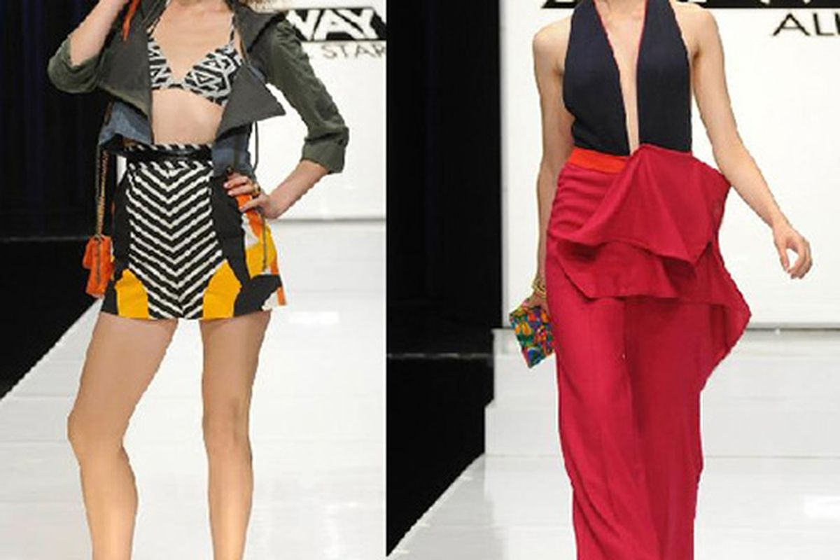 """Mondo's winning look at left; Anthony's losing look at right—<a href=""""http://www.mylifetime.com/shows/project-runway-all-stars"""">via</a> Lifetime"""