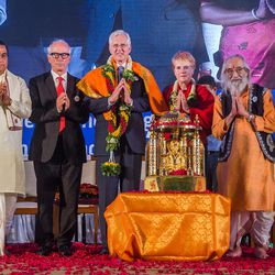 Elder D. Todd Christofferson, a member of the Quorum of Twelve Apostles for The Church of Jesus Christ of Latter-day Saints is joined by others to bid farewell after receiving the Philosopher Saint Shri Dnyaneshwara World Peace Prize-2017, during an award ceremony at the MIT World Peace university in Pune, Maharashtra, India on August 14, 2017.