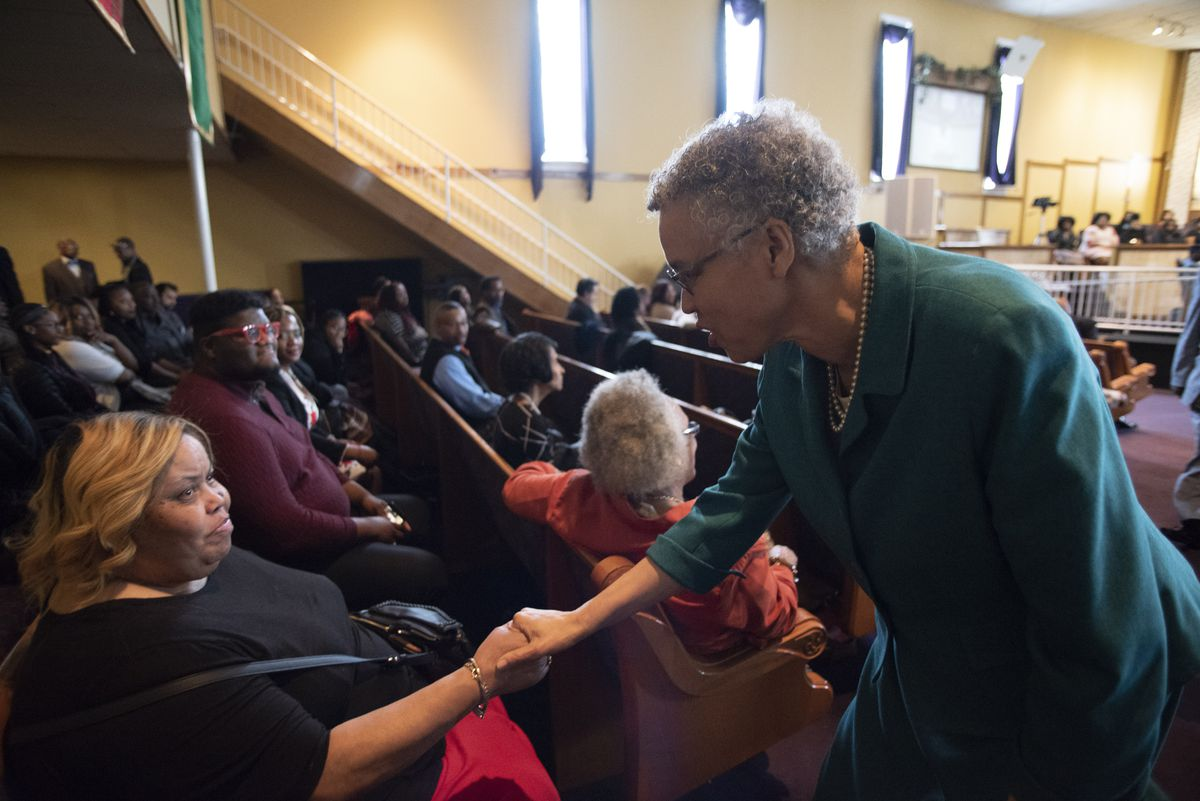 Chicago mayoral candidate Toni Preckwinkle greets service-goers in Greater Harvest Baptist Church in Chicago on Chicago's South Side while campaigning on March 31, 2019. | Colin Boyle/Sun-Times
