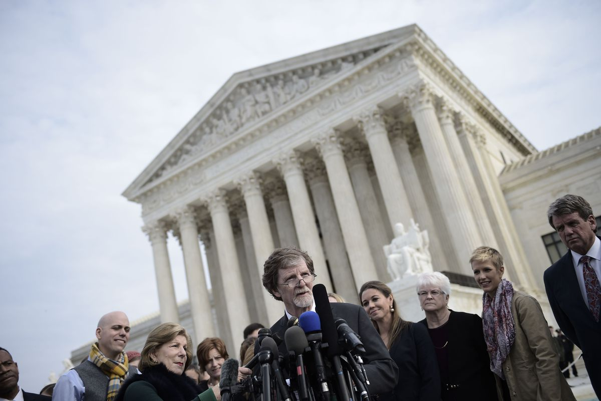 Jack Phillips, owner of Masterpiece Cakeshop, speaks in front of the Supreme Court.