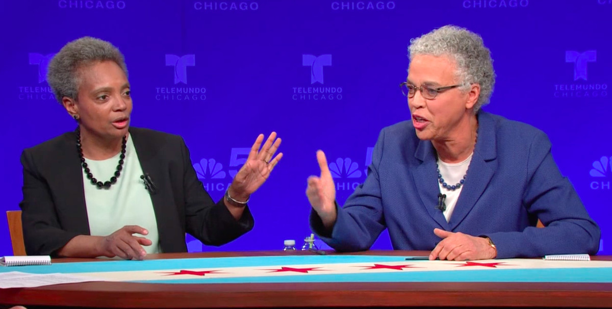 Chicago mayoral candidates Lori Lightfoot, left, and Toni Preckwinkle engaged in their first runoff debate March 7, 2019.