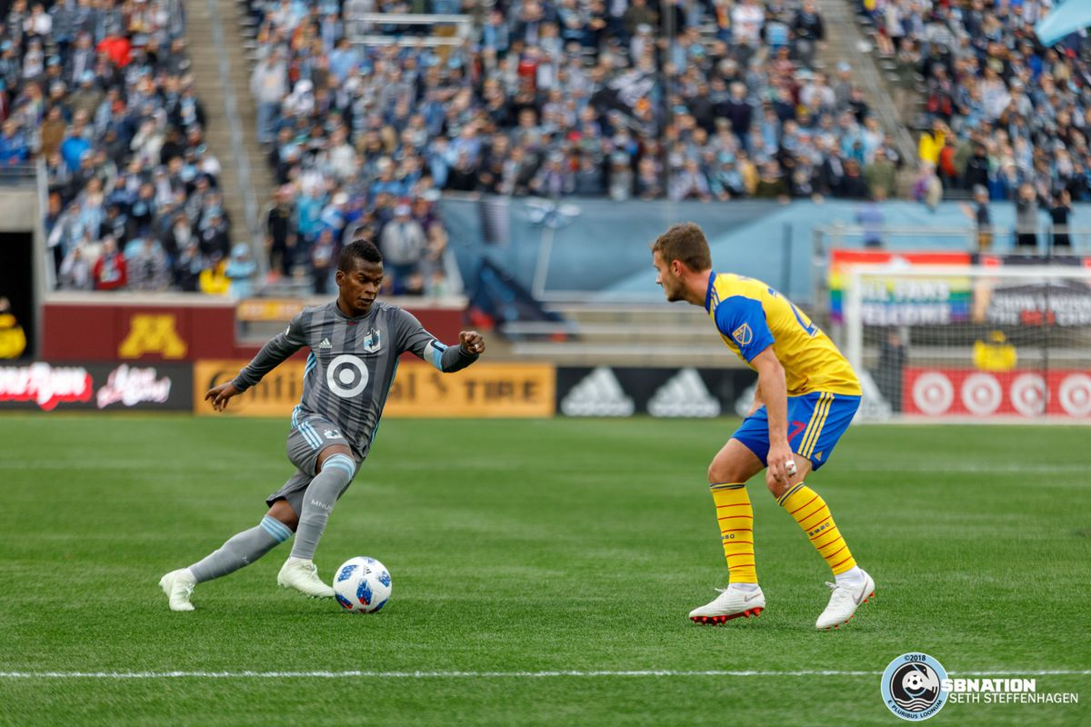 October 13, 2018 - Minneapolis, Minnesota, United States - Minnesota United forward Darwin Quintero (25) dribbles the ball towards Colorado Rapids defender Deklan Wynne (27) during the match at TCF Bank Stadium.