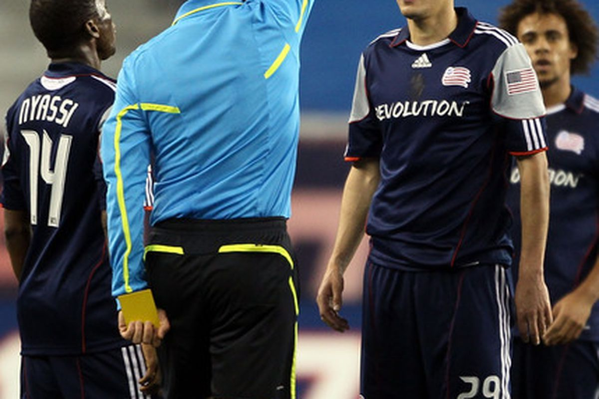 FOXBORO, MA - MAY 05:  Marko Perovic #29 of the New England Revolution is issued a red card in the first half against Chivas USA on May 5, 2010 at Gillette Stadium in Foxboro, Massachusetts.  (Photo by Elsa/Getty Images)
