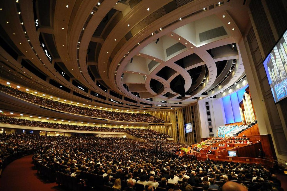 FILE - A view of the Conference Center from general conference in April 2011.