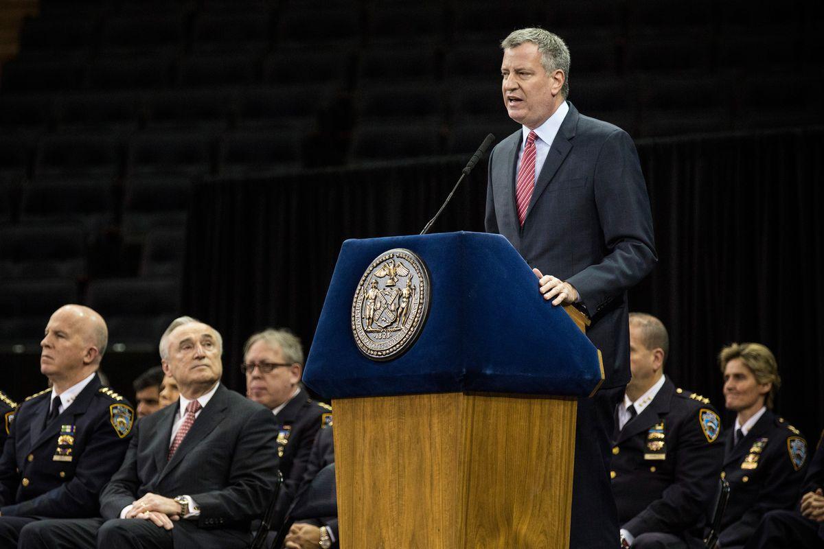 New York City Mayor Bill de Blasio speaks to NYPD graduates.