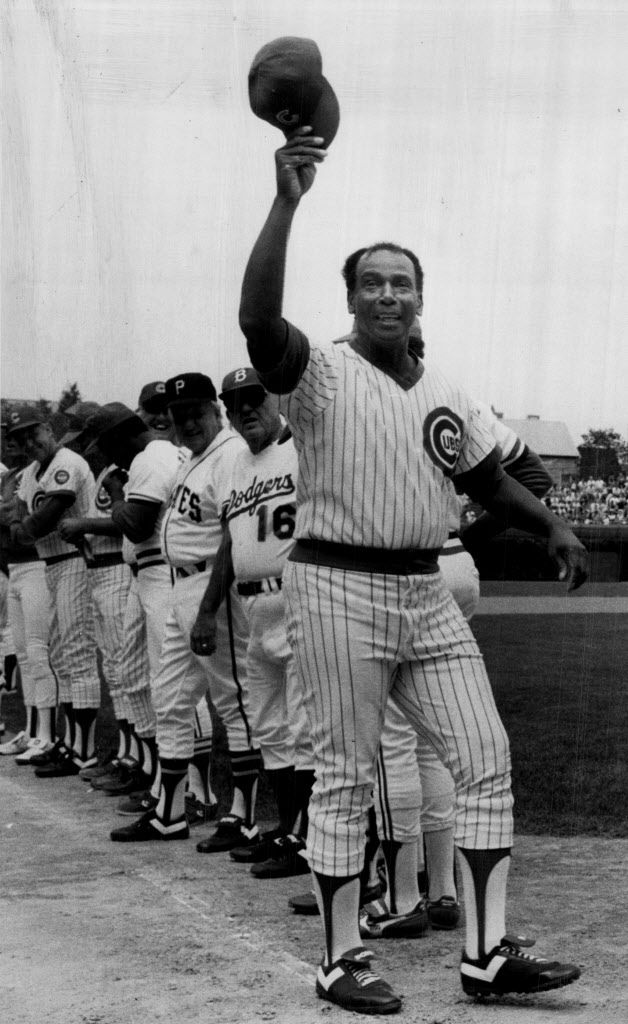 Cubs great Ernie Banks is Introduced to the fans Saturday before the Equitable Old-Timers Game in 1987.   Sun-Times library