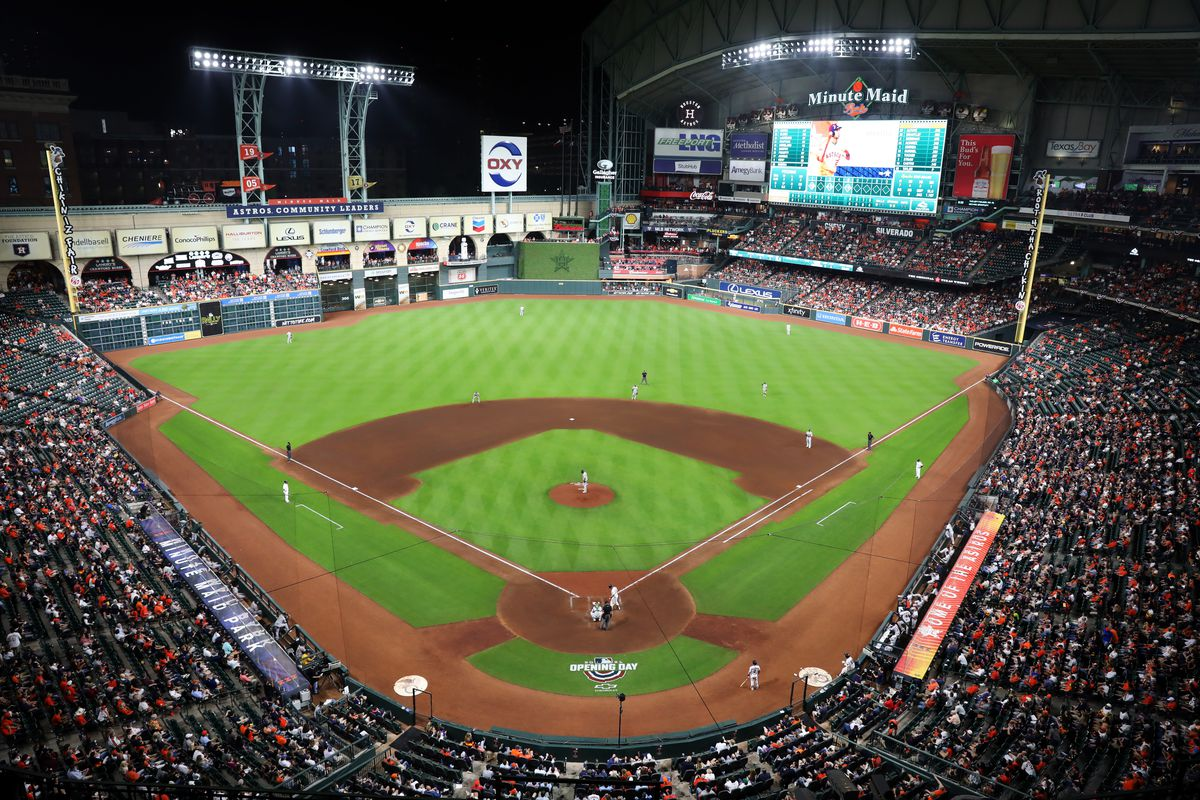 A general view of Minute Maid Park during the game between the Oakland Athletics and the Houston Astros at Minute Maid Park on Thursday, April 8, 2021 in Houston, Texas.