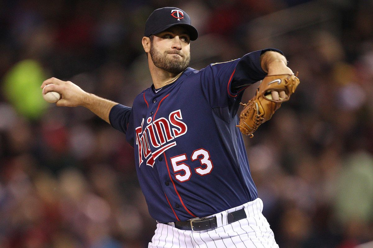 May 11, 2012; Minneapolis, MN, USA: Minnesota Twins starting pitcher Nick Blackburn (53) delivers a pitch in the first inning against the Toronto Blue Jays at Target Field. Mandatory Credit: Jesse Johnson-US PRESSWIRE