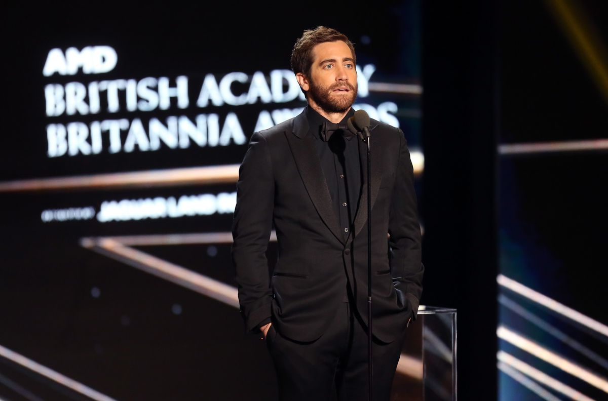 Actor Jake Gyllenhaal speaks onstage during the 2016 AMD British Academy Britannia Awards presented by Jaguar Land Rover and American Airlines at The Beverly Hilton Hotel on October 28, 2016 in Beverly Hills, California. (Photo by Frederick M. Brown/Getty