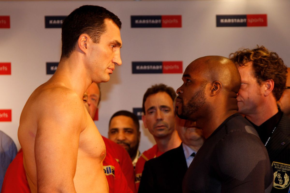 Wladimir Klitschko is expected to have no trouble with Jean Marc Mormeck, but not in the usual fashion in which he dominates. (Photo by Friedemann Vogel/Bongarts/Getty Images)