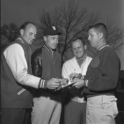 Granite High head football coach LaVell Edwards poses with other coaches April 1961.