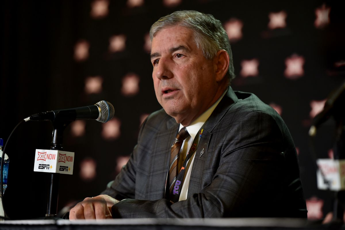 Bob Bowlsby, commissioner of the Big 12, talks to the media as he announces that the Big 12 basketball tournament has been cancelled due to growing concerns with the Coronavirus (COVID-19) outbreak at the Sprint Center on March 12, 2020 in Kansas City, Missouri.