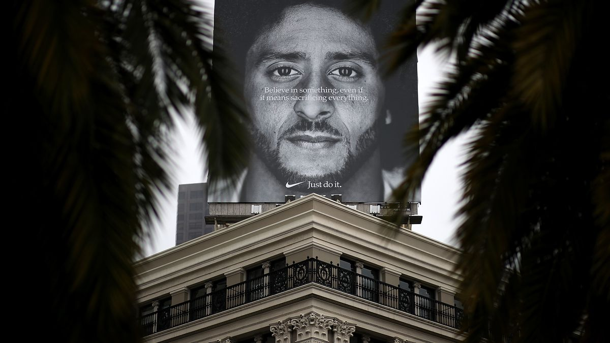 Nike billboard featuring quarterback Colin Kaepernick in new ad campaign