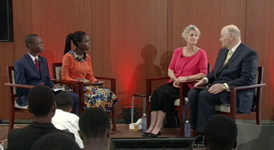 Sister Ruth L. Renlund and Elder Dale G. Renlund of the Quorum of the Twelve Apostles speak to youth living in Africa during a Face to Face broadcast on Aug. 5, 2017.