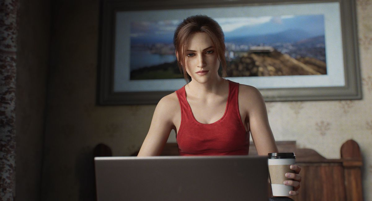 Claire Redfield is sitting behind a laptop with some Java on the Netflix-animated miniseries Resident Evil: Infinite Darkness