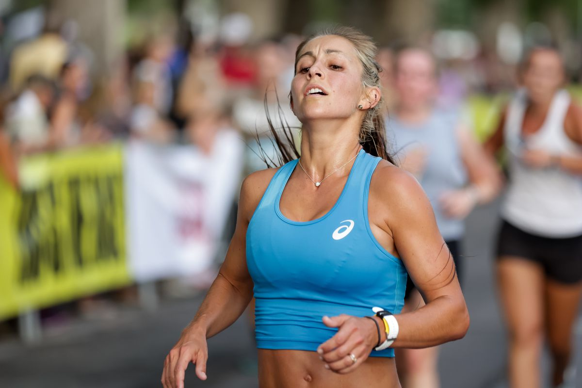 Makenna Myler places first in the women's division of the Deseret News Half Marathon at Liberty Park in Salt Lake City