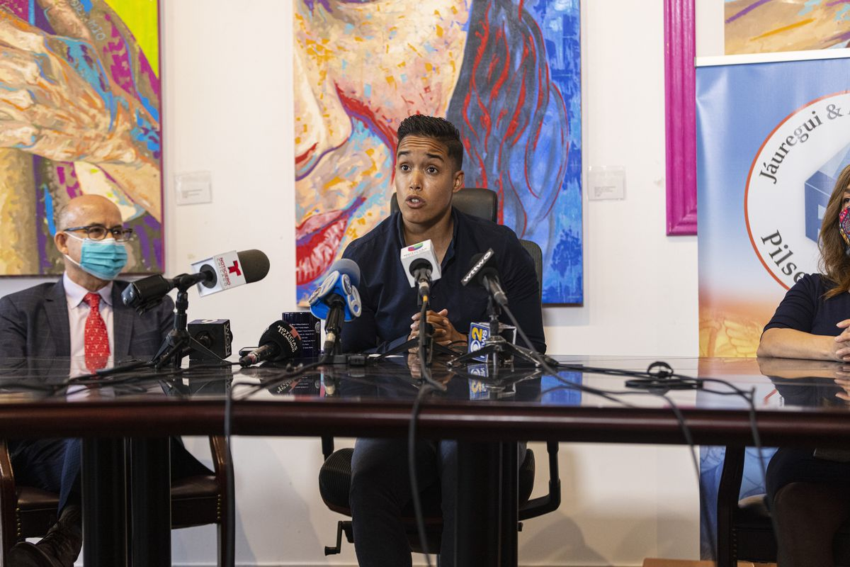 Jesse Fuentes, director of policy with the Puerto Rican Cultural Center, asks for clearer policies related to foot pursuits by police to avoid outcomes that resulted in the deaths of two young men during a press conference at Pilsen Law Center, 1545 West 18th St in Pilsen.