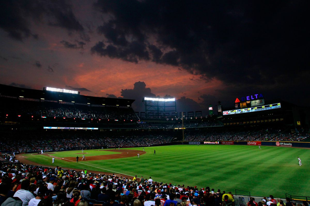 ATLANTA, GA - AUGUST 18:  The sun sets over Turner Field during the game between the Atlanta Braves and the San Francisco Giants  on August 18, 2011 in Atlanta, Georgia.  (Photo by Kevin C. Cox/Getty Images)