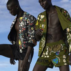 A bomber jacket (left) and matching shirt and shorts combo (right).