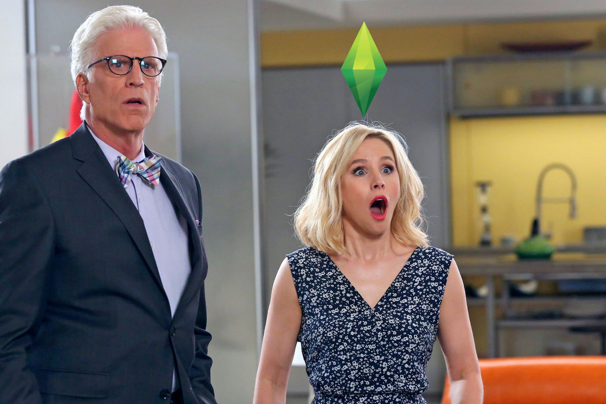 michael and eleanor in the good place, both shocked, eleanor has a green diamond — a plumbob from the sims — floating above her head