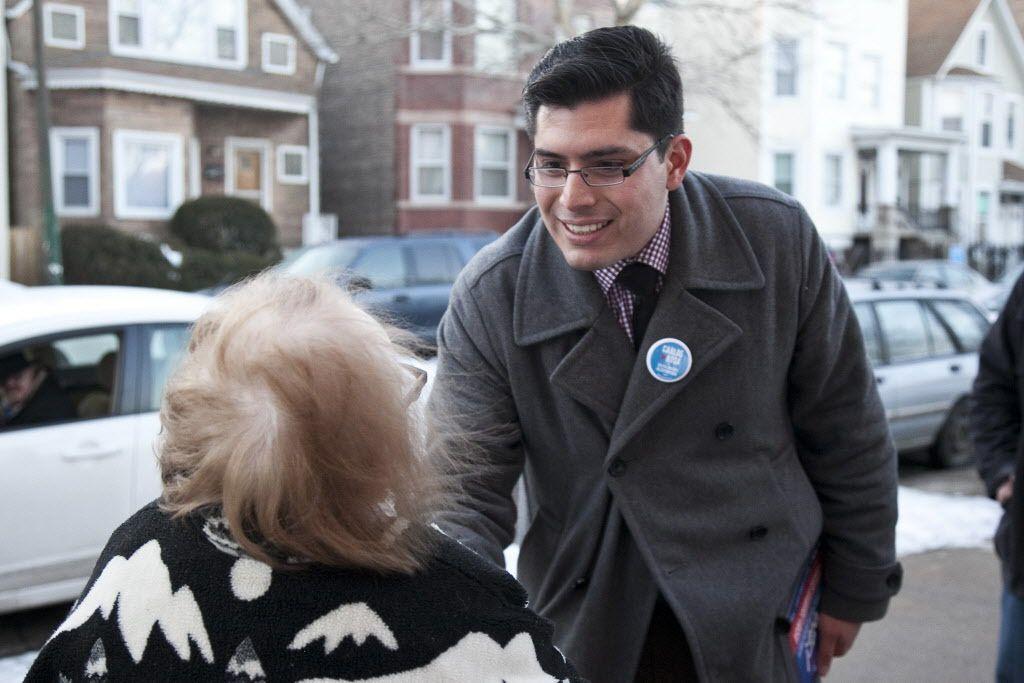 Ald. Carlos Ramirez-Rosa campaigning. | Ashlee Rezin / Sun-Times
