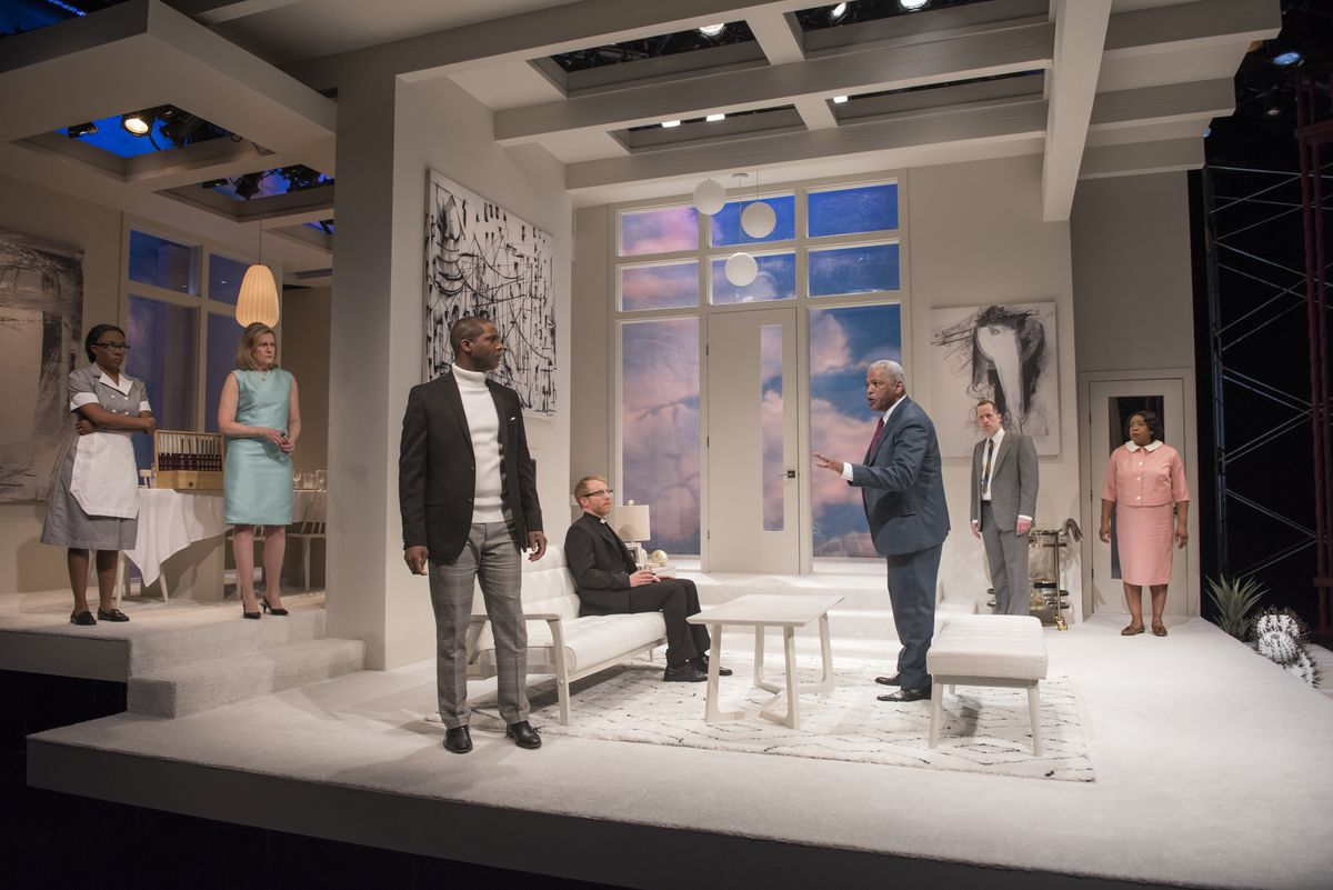 """Sydney Charles (from left), Mary Beth Fisher, Michael Aaron Pogue, Dexter Zollicoffer, Tim Hopper and Jacqueline Williams are among the cast of """"Guess Who's Coming to Dinner?"""" at Court Theatre.   Michael Brosilow"""