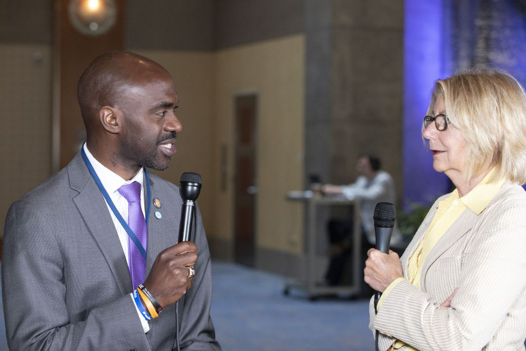 Michael Blake, Vice Chair of Democratic National Committee, speaks with Sun-Times Washington Bureau Chief Lynn Sweet at the DNC summer meeting in Chicago on August 23, 2018. | Colin Boyle/Sun-Times