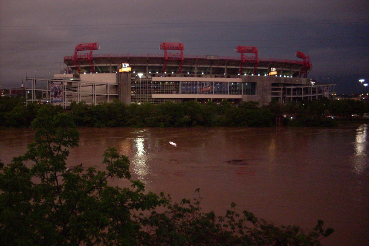 LP Field at about 7:30 tonight, as the Cumberland continues to rise.