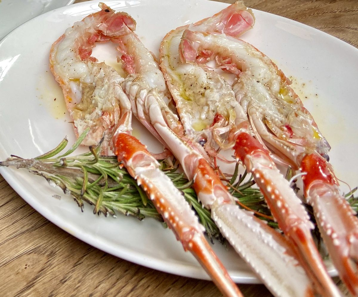 Brat's signature langoustines. Michelin star restaurant food in Shoreditch, East London, by chef Tomos Parry